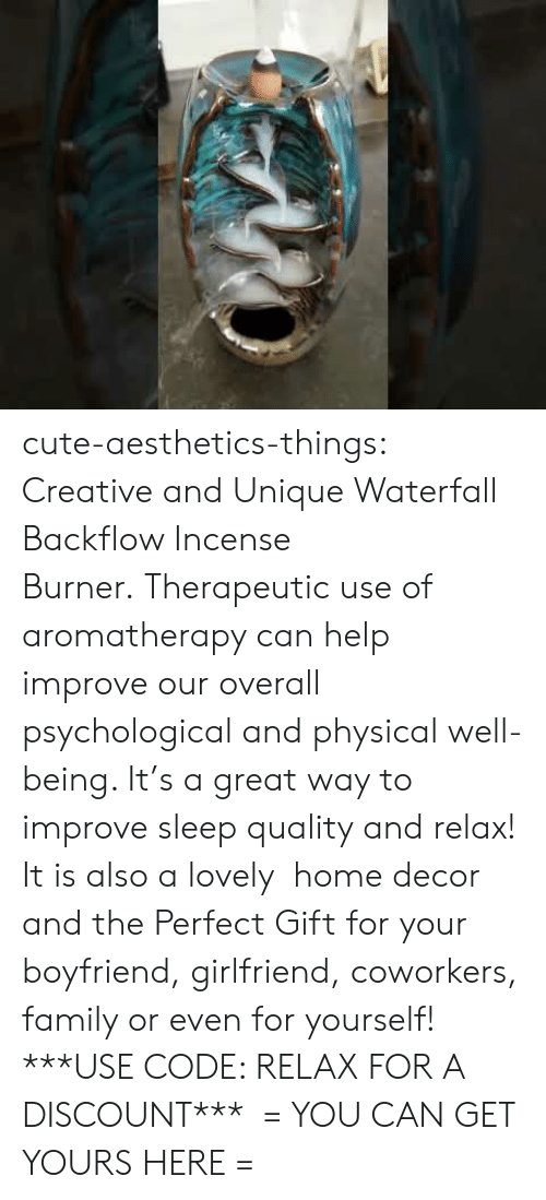 decor: cute-aesthetics-things: Creative and Unique Waterfall Backflow Incense Burner.Therapeutic use of aromatherapy can help improve our overall psychological and physical well-being. It's a great way to improve sleep quality and relax! It is also a lovely home decor and the Perfect Gift for your boyfriend, girlfriend, coworkers, family or even for yourself! ***USE CODE: RELAXFOR A DISCOUNT*** = YOU CAN GET YOURS HERE =