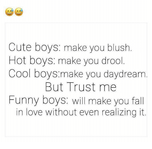 Hot Boys: Cute boys: make you blush.  Hot boys: make you drool  Cool boys.make you daydream  But Trust me  Funny boys: will make you fall  in love without even realizing it.