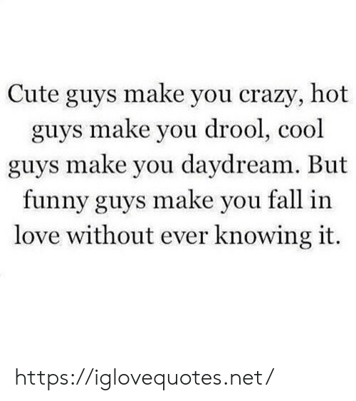 Crazy, Cute, and Fall: Cute guys make you crazy, hot  guys make you drool, cool  guys make you daydream. But  funny guys make you fall in  love without ever knowing it. https://iglovequotes.net/