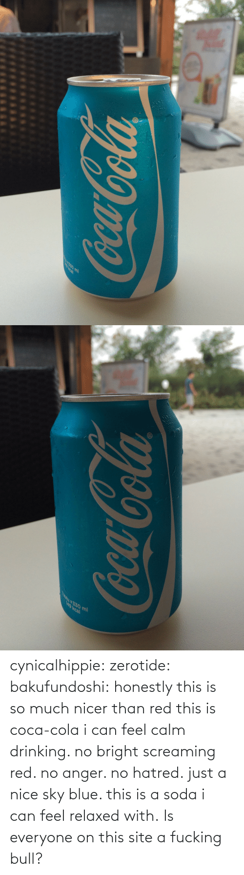 cola: cynicalhippie:  zerotide:  bakufundoshi:  honestly this is so much nicer than red  this is coca-cola i can feel calm drinking. no bright screaming red. no anger. no hatred. just a nice sky blue. this is a soda i can feel relaxed with.   Is everyone on this site a fucking bull?