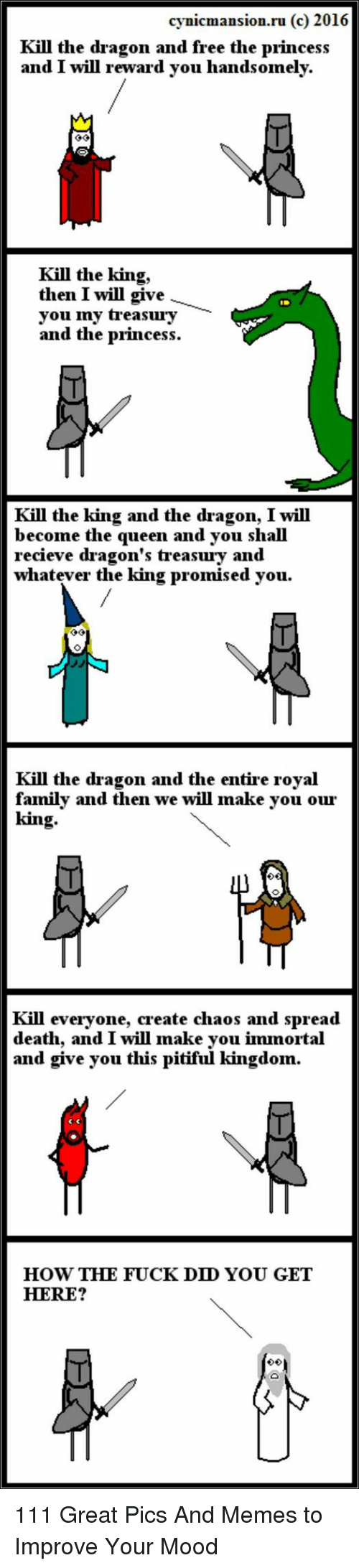 Pitiful: cynicmansion.ru (c) 2016  Kill the dragon and free the princes:s  and I will reward vou handsomely.  Kill the king,  then I will give  you ny treasury  and the princess.  Kill the king and the dragon, I will  become the queen and you shall  recieve dragon's treasury and  whatever the king promised you.  Kill the dragon and the entire royal  family and then we will make you our  king  Kill everyone, create chaos and spread  death, and I will make you immortal  and give you this pitiful kingdon.  HOW THE FUCK DD YOU GET  HERE? 111 Great Pics And Memes to Improve Your Mood