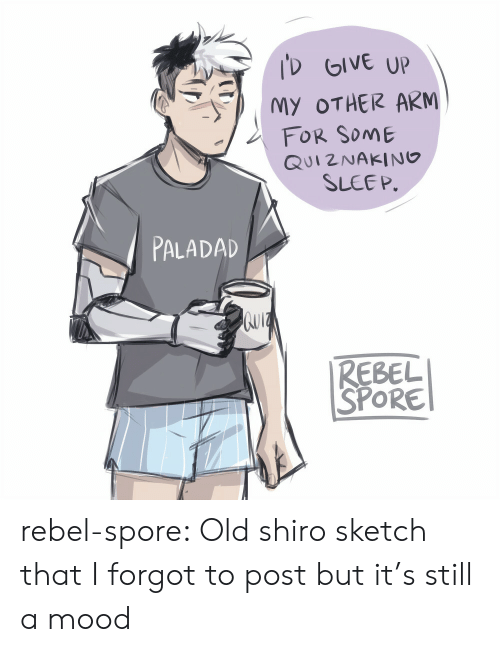 spore: D GIVE UP  MY OTHER ARM  FOR SoME  QUI2NAKING  SLEEP.  PALADAD  REBEL  SPORE rebel-spore:  Old shiro sketch that I forgot to post but it's still a mood