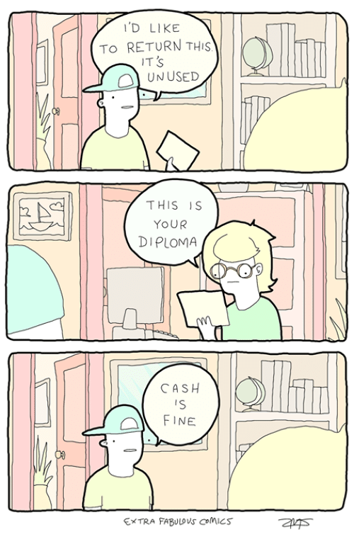 Memes, Comics, and 🤖: D LIKE       TO RETURN THIS)   k  IT S  OL UNUSED  THIS IS  YOUR  DIPLOMA  CASH  FINE  EXTRA FABULOVS CoMiCS