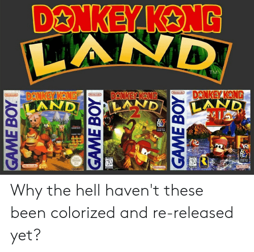 Dankey Kang: D&NKEY KENG  AND  TM  DANKEY KONG  DANKEY KANG  AND  DENKEY KANG  LAND  Nintendo  Nintendo  Nintendo  LAND  CAME DOX  GAME PAK  BANANA  YELLOW  GAME PAK  INCLUDED!  KA  KA  Ninlendo  Nintendo)  Nintendc  GAME BOY  GAME BOY  GAME BOY Why the hell haven't these been colorized and re-released yet?