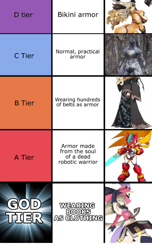 Books, Bikini, and Warrior: D tier  Bikini armor  C Tier  Normal, practical  armor  B Tier  Wearing hundreds  of belts as armor  Armor made  from the soul  of a dead  robotic warrior  A Tier  WEARING  BOOKS  TIER AS CLOHNS