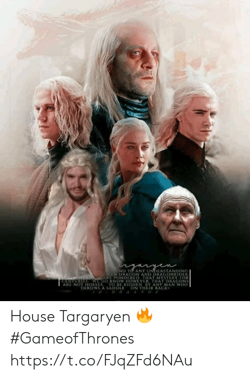 Memes, House, and Any Man: D TO ANY UNDERSTANDINO  EN DRAGON AND DRAGONRIDER  VE PONDERED THAT MYSTERY FOR  RİES, WE DO KNOW HOWEVER, THAT DRACONS  ARE NOT HORSESTO BE RIDDEN BY ANY MAN WHO  THROWS A SADDLE ON THEIR BACK House Targaryen 🔥 #GameofThrones https://t.co/FJqZFd6NAu