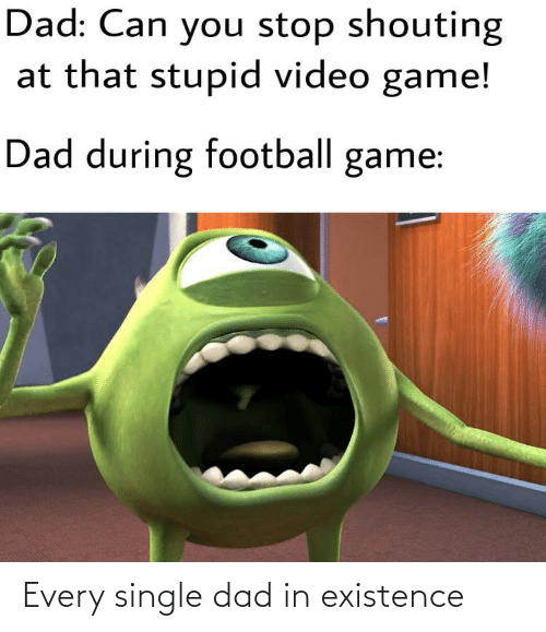 Can You: Dad: Can you stop shouting  at that stupid video game!  Dad during football game: Every single dad in existence