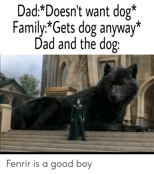 Dad, Family, and Good: Dad*Doesn't want dog*  Family.*Gets dog anyway*  Dad and the dog: Fenrir is a good boy