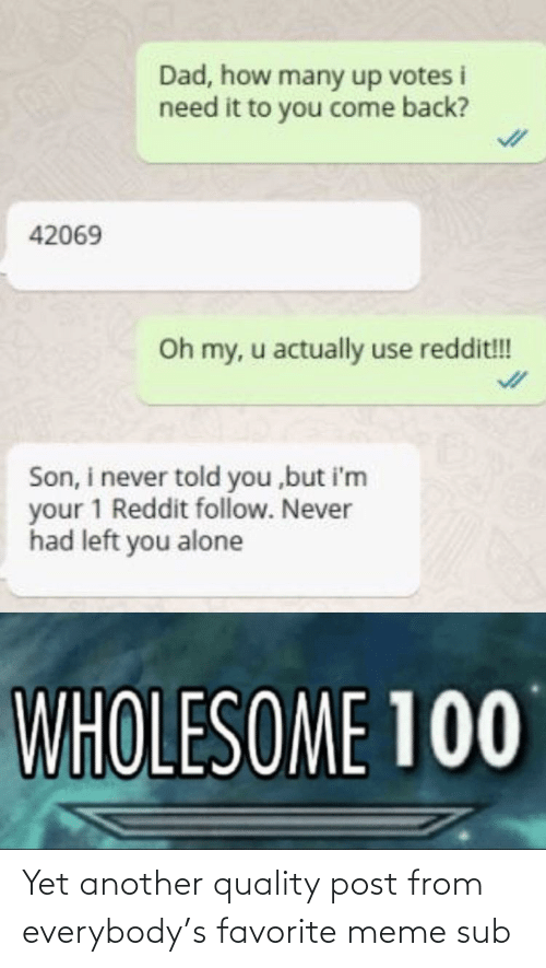 Being Alone, Dad, and Meme: Dad, how many up votes i  need it to you come back?  42069  Oh my, u actually use reddit!!!  Son, i never told you ,but i'm  your 1 Reddit follow. Never  had left you alone  WHOLESOME 100 Yet another quality post from everybody's favorite meme sub