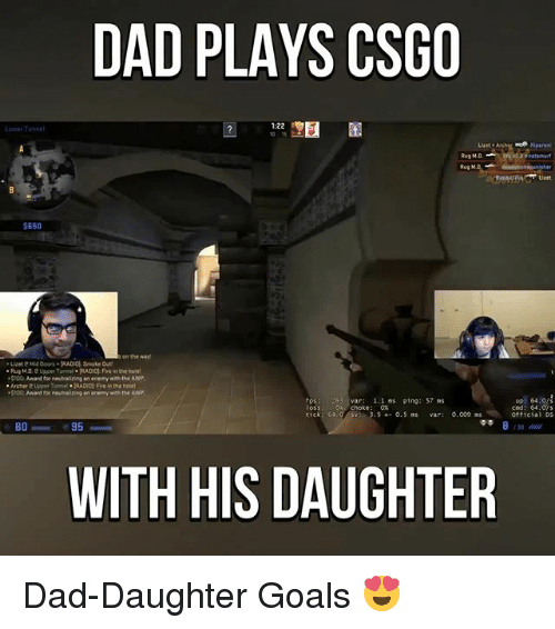 Awp: DAD PLAYS CSGO  Tunnel  $650  on the way  Lizete Mid Doors. RADIO Smoke  Rug MD, e Upper Tunnel RADIO Fre inneho  .5100 Award for neutralizing an enemy n the AWP  Archere Upper Tunnrl RADIO Fire in the hDet  $100 Award for neutor izing an enemy wth the AWP  1.1 ns ping: S7 ns  tick 64.0  4- 0. S ns  0.009 ms  95  BO  WITH HIS DAUGHTER  cnd: 64  Official DS Dad-Daughter Goals 😍