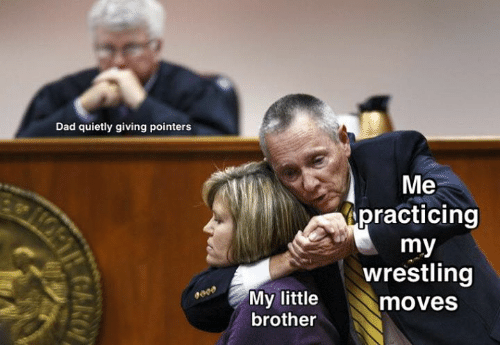 practicing: Dad quietly giving pointers  Me  practicing  my  wrestling  My little  moves  brother  COARO