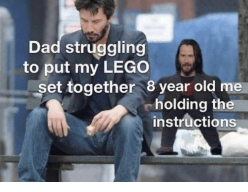 Dad, Lego, and Old: Dad struggling  to put my LEGO  set together 8 year old me  cholding the  instructions