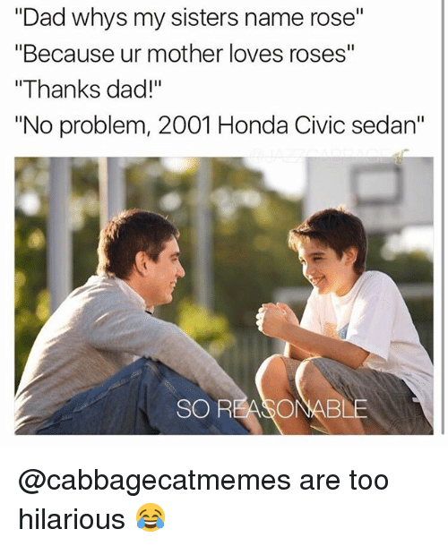 "Dad, Honda, and Memes: ""Dad whys my sisters name rose""  ""Because ur mother loves roses""  ""Thanks dad!""  ""No problem, 2001 Honda Civic sedan""  SO REASONABLE @cabbagecatmemes are too hilarious 😂"