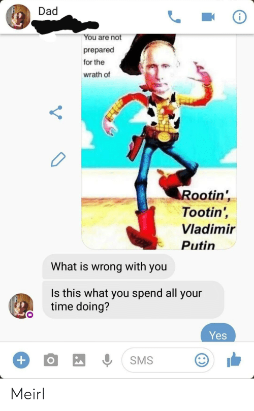 Dad, Vladimir Putin, and Putin: Dad  You are not  prepared  for the  wrath of  Rootin'  Tootin',  Vladimir  Putin  What is wrong with you  Is this what you spend all your  time doing?  Yes  +  SMS Meirl