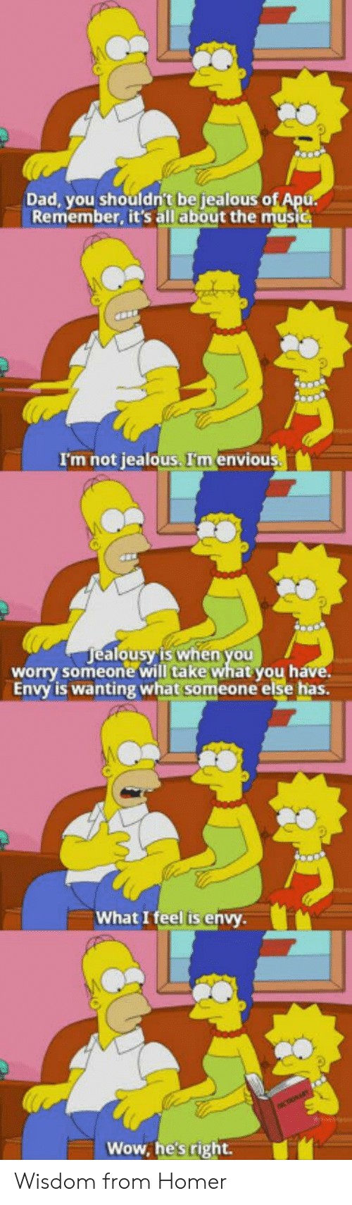 alo: Dad, you shouldn't be jealous o  Remember, it's all about the music  I'm not jealous. I'm envious  ealousy'is when you  alo  worry someone will take what you h  Envy is wanting what someone else has.  What I feel is envy  Wow, he's right. Wisdom from Homer