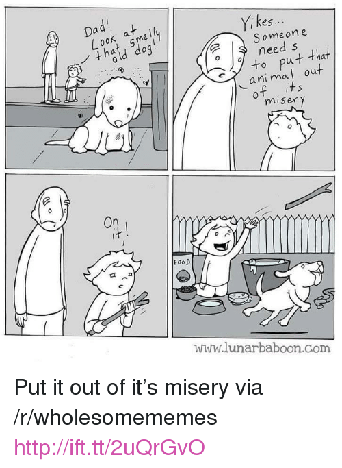 """miser: Dadi at  Yi kes  Someone  need s  oput that  ani mal out  of its  miser y  On  FooD  www.lunarbaboon.Com <p>Put it out of it&rsquo;s misery via /r/wholesomememes <a href=""""http://ift.tt/2uQrGvO"""">http://ift.tt/2uQrGvO</a></p>"""