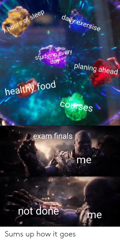 Finals, Food, and Dank Memes: daily exersise  7hours of sleep  studying every  day  planing ahead  healthy food  courses  exam finals  me  not done  me Sums up how it goes