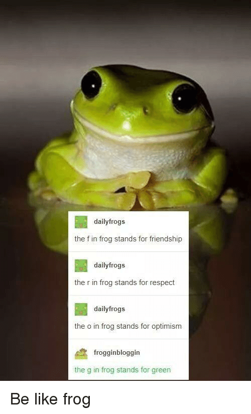 Optimism: dailyfrogs  the f in frog stands for friendship  dailyfrogs  the r in frog stands for respect  dailyfrogs  the o in frog stands for optimism  frogginbloggin  the g in frog stands for green Be like frog