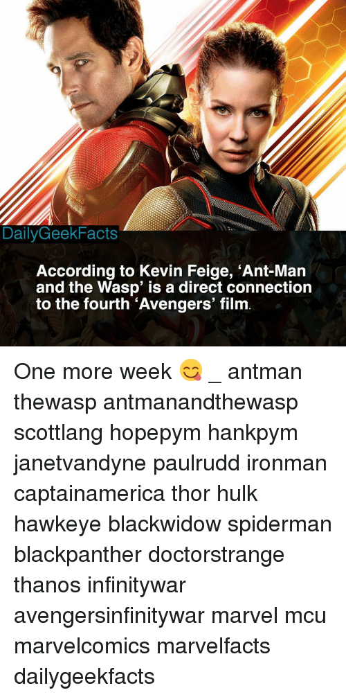 Memes, Hulk, and Antman: DailyGeekFacts  According to Kevin Feige, 'Ant-Mar  and the Wasp' is a direct connection  to the fourth 'Avengers' film One more week 😋 _ antman thewasp antmanandthewasp scottlang hopepym hankpym janetvandyne paulrudd ironman captainamerica thor hulk hawkeye blackwidow spiderman blackpanther doctorstrange thanos infinitywar avengersinfinitywar marvel mcu marvelcomics marvelfacts dailygeekfacts