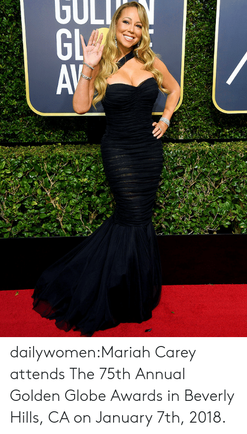 golden globe: dailywomen:Mariah Carey attends The 75th Annual Golden Globe Awards in Beverly Hills, CA on January 7th, 2018.
