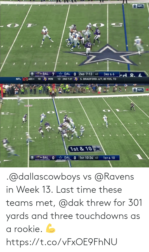 three: .@dallascowboys vs @Ravens in Week 13.  Last time these teams met, @dak threw for 301 yards and three touchdowns as a rookie. 💪 https://t.co/vFxOE9FhNU