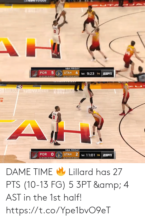 amp: DAME TIME 🔥  Lillard has 27 PTS (10-13 FG) 5 3PT & 4 AST in the 1st half!   https://t.co/Ype1bvO9eT