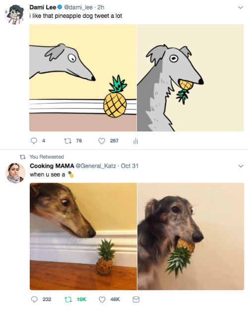Pineapple, Dog, and Mama: Dami Lee@dami_lee 2h  lke that pineapple dog tweet a lot  t1 You Retweeted  Cooking MAMA @General_Katz Oct 31  when u see a