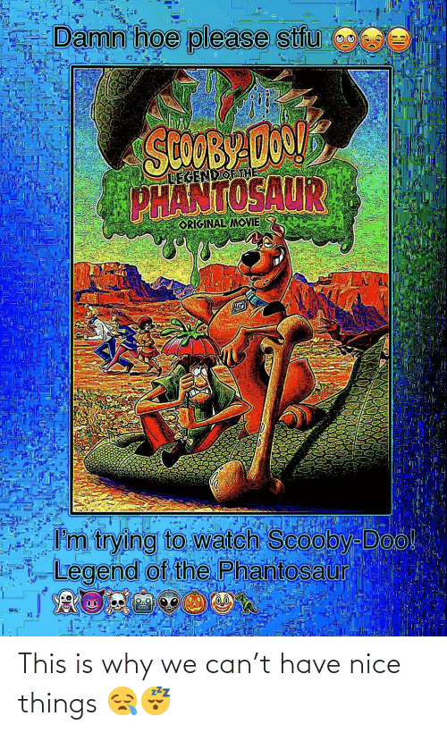 Im Trying: Damn hoe please stfu  SCOOBY DO1  PHANTOSAUR  LEGENDOETHE  ORIGINAL MOVIE  I'm trying to watch Scooby-Doo!  Legend of the Phantosaur This is why we can't have nice things 😪😴