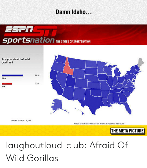 Ored: Damn Idaho..  sportsnation  THE STATES OF SPQRTSHATION  Are you afraid of wild  gorillas?  68%  Yes  32%  No  TOTAL VOTES: 7,785  ORE SPECIFIC RESULTS  THE META PICTURE laughoutloud-club:  Afraid Of Wild Gorillas