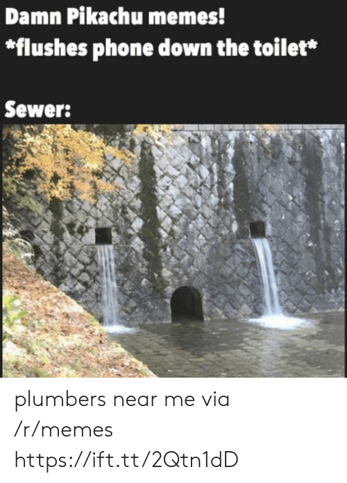sewer: Damn Pikachu memes!  *flushes phone down the toilet*  Sewer: plumbers near me via /r/memes https://ift.tt/2Qtn1dD