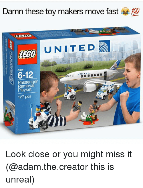 Unrealism: Damn these toy makers move fast  100  UNITED  LEGO  6-12  UNITED  Passenger  Playset  127 pcs Look close or you might miss it (@adam.the.creator this is unreal)