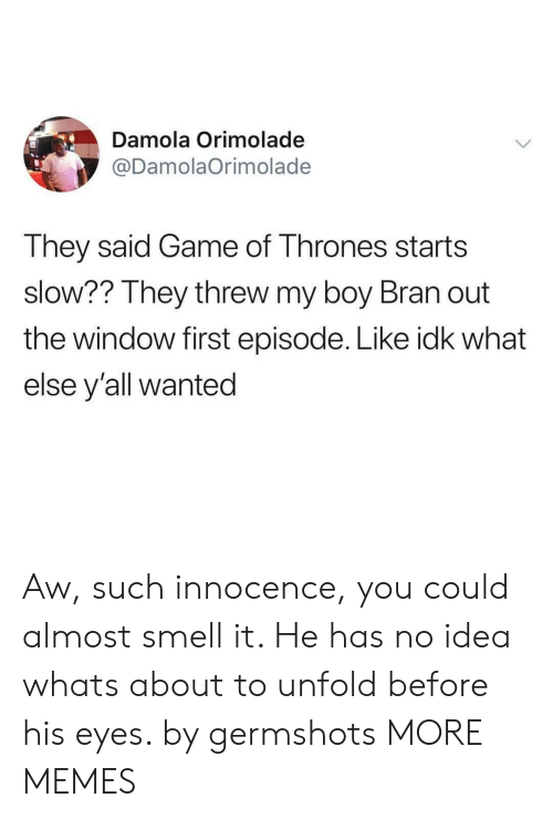 Dank, Game of Thrones, and Memes: Damola Orimolade  @DamolaOrimolade  They said Game of Thrones starts  slow?? They threw my boy Bran out  the window first episode. Like idk what  else y'all wanted Aw, such innocence, you could almost smell it. He has no idea whats about to unfold before his eyes. by germshots MORE MEMES