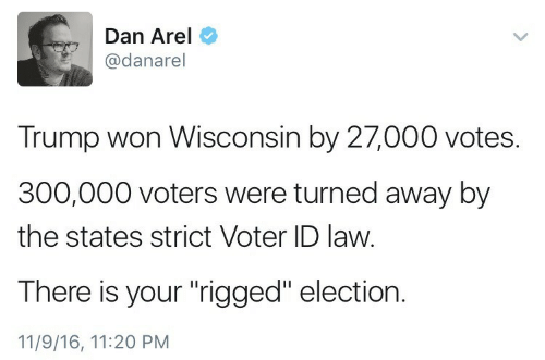 "Votes: Dan Arel  @danarel  Trump won Wisconsin by 27,000 votes.  300,000 voters were turned away by  the states strict Voter ID law.  There is your ""rigged"" election.  11/9/16, 11:20 PM"