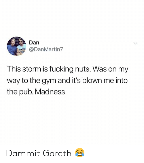 Pub: Dan  @DanMartin7  This storm is fucking nuts. Was on my  way to the gym and it's blown me into  the pub. Madness Dammit Gareth 😂