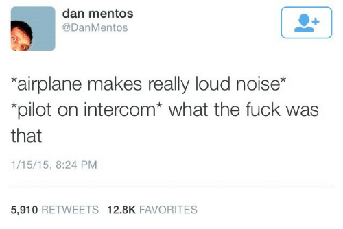 Mentos, Airplane, and Fuck: dan mentos  @DanMentos  airplane makes really loud noise*  *pilot on intercom* what the fuck was  that  1/15/15, 8:24 PM  5,910 RETWEETS 12.8K FAVORITES
