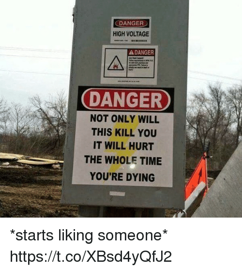 liking someone: DANGER  HIGH VOLTAGE  A DANGER  DANGER  NOT ONLY WILL  THIS KILL YOU  IT WILL HURT  THE WHOLE TIME  YOU'RE DYING *starts liking someone* https://t.co/XBsd4yQfJ2