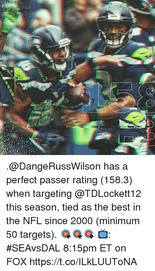 Memes, Nfl, and Best: .@DangeRussWilson has a perfect passer rating (158.3) when targeting @TDLockett12 this season, tied as the best in the NFL since 2000 (minimum 50 targets). 🎯🎯🎯  📺: #SEAvsDAL 8:15pm ET on FOX https://t.co/ILkLUUToNA