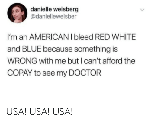 But I: danielle weisberg  @danielleweisber  I'm an AMERICAN I bleed RED WHITE  and BLUE because something is  WRONG with me but I can't afford the  COPAY to see my DOCTOR USA! USA! USA!