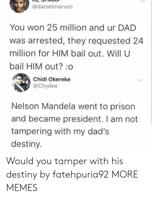 Dad, Dank, and Destiny: @danielmarven  You won 25 million and ur DAD  was arrested, they requested 24  million for HIM bail out. Will U  bail HIM out? :o  Chidi Okereke  @Chydee  Nelson Mandela went to prison  and became president. I am not  tampering with my dad's  destiny Would you tamper with his destiny by fatehpuria92 MORE MEMES