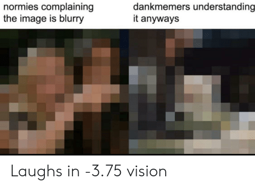 normies: dankmemers understanding  it anyways  normies complaining  the image is blurry Laughs in -3.75 vision