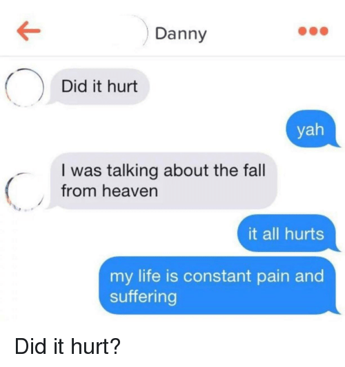yah: Danny  Did it hurt  yah  I was talking about the fall  from heaven  it all hurts  my life is constant pain and  suffering Did it hurt?