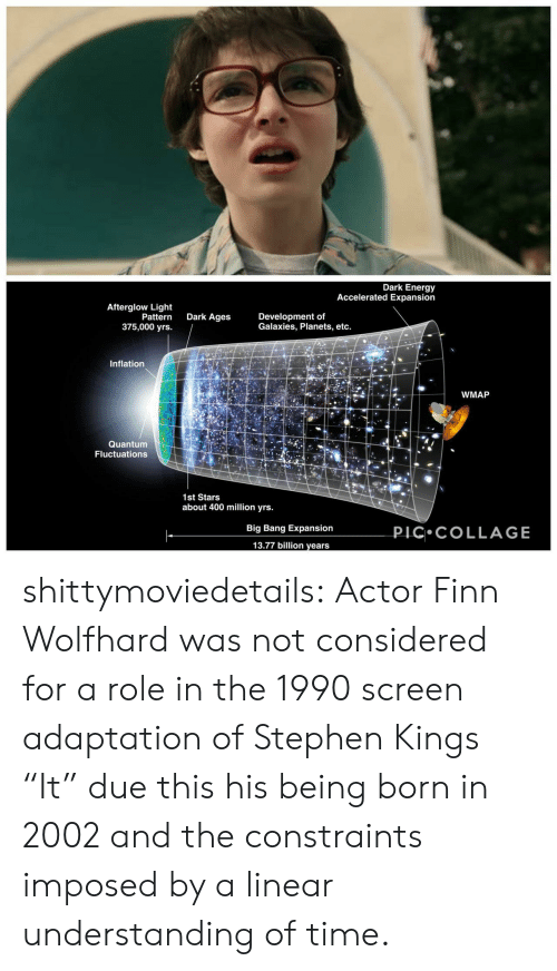 "actor: Dark Energy  Accelerated Expansion  Afterglow Light  Pattern  375,000 yrs.  Dark Ages  Development of  Galaxies, Planets, etc.  Inflation  WMAP  Quantum  Fluctuations  1st Stars  about 400 million yrs.  PIC COLLAGE  Big Bang Expansion  13.77 billion years shittymoviedetails:  Actor Finn Wolfhard was not considered for a role in the 1990 screen adaptation of Stephen Kings ""It"" due this his being born in 2002 and the constraints imposed by a linear understanding of time."
