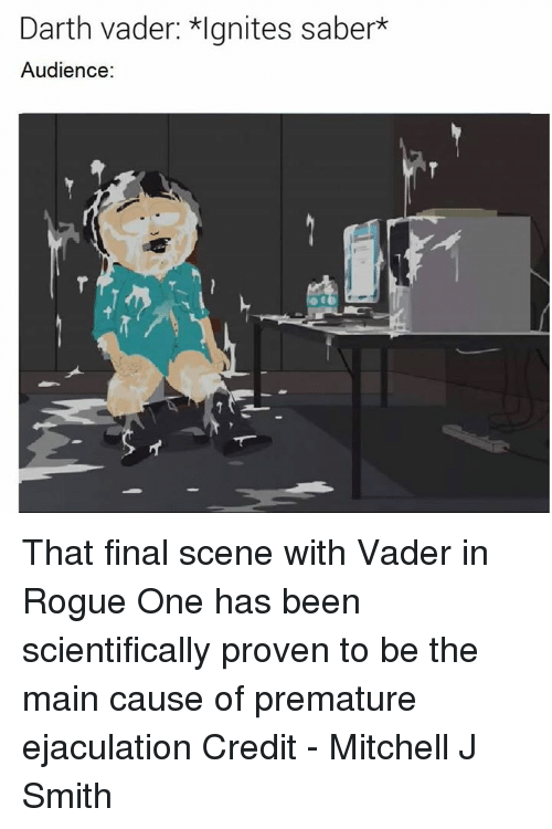 Final Scene: Darth vader: *lgnites saber*  Audience: That final scene with Vader in Rogue One has been scientifically proven to be the main cause of premature ejaculation  Credit - Mitchell J Smith