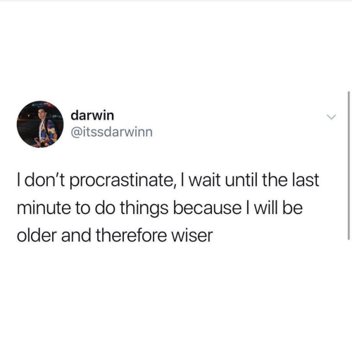 darwin: darwin  @itssdarwinn  I don't procrastinate, I wait until the last  minute to do things because l will be  older and therefore wiser