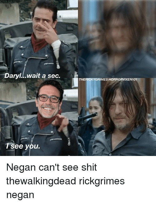 Memes, Shit, and 🤖: Daryl...wait a sec.  T See you.  THE RICKY GRIMES HORRORVIXEN10 Negan can't see shit thewalkingdead rickgrimes negan