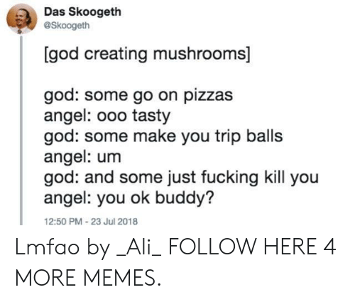 Angeler: Das Skoogeth  @Skoogeth  [god creating mushrooms]  god: some go on pizzas  angel: ooo tasty  god: some make you trip balls  angel: um  god: and some just fucking kill you  angel: you ok buddy?  12:50 PM 23 Jul 2018 Lmfao by _Ali_ FOLLOW HERE 4 MORE MEMES.