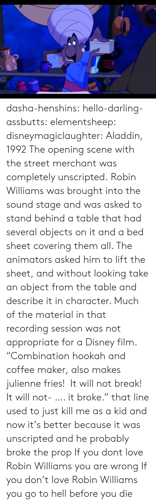 "Aladdin, Disney, and Hello: dasha-henshins: hello-darling-assbutts:  elementsheep:  disneymagiclaughter:  Aladdin, 1992 The opening scene with the street merchant was completely unscripted. Robin Williams was brought into the sound stage and was asked to stand behind a table that had several objects on it and a bed sheet covering them all. The animators asked him to lift the sheet, and without looking take an object from the table and describe it in character. Much of the material in that recording session was not appropriate for a Disney film.   ""Combination hookah and coffee maker, also makes julienne fries!  It will not break! It will not- …. it broke."" that line used to just kill me as a kid and now it's better because it was unscripted and he probably broke the prop  If you dont love Robin Williams you are wrong   If you don't love Robin Williams you go to hell before you die"