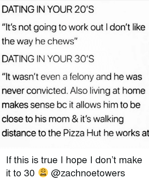 """going to work: DATING IN YOUR 20'S  """"It's not going to work out I don't like  the way he chews  DATING IN YOUR 30'S  """"It wasn't even a felony and he was  never convicted. Also living at home  makes sense bc it allows him to be  close to his mom & it's walking  distance to the Pizza Hut he works at If this is true I hope I don't make it to 30 😩 @zachnoetowers"""