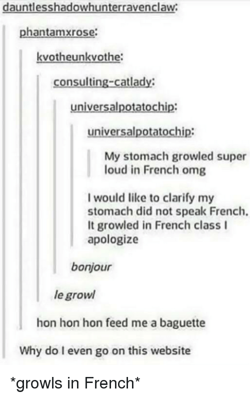 growl: dauntlesshadowhunterravenclaw  phantamxrose:  kvotheunkvothe  consulting-catlady:  universalpotatochip:  universalpotatochip:  My stomach growled super  loud in French omg  I would like to clarify my  stomach did not speak French.  It growled in French class I  apologize  bonjour  le growl  hon hon hon feed me a baguette  Why do I even go on this website *growls in French*