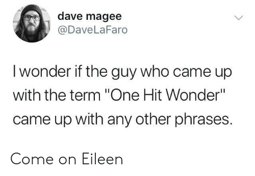 """Wonder, Who, and One: dave magee  @DaveLaFaro  I wonder if the guy who came up  with the term """"One Hit Wonder""""  came up with any other phrases. Come on Eileen"""